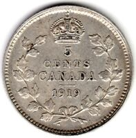 1919 CANADA FIVE 5 CENT FISHSCALE GEORGE V STERLING SILVER N