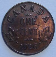 1926 CANADA ONE 1 CENT GEORGE V PENNY COIN SEMI KEY DATE