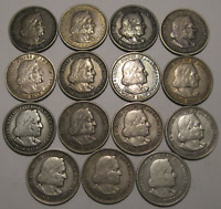 LOT OF  15  CIRCULATED 1893 COLUMBIAN EXPO COMMEMORATIVE SIL