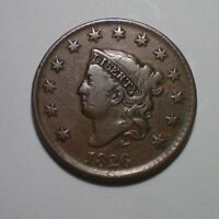 1826 LARGE CENT VF XF / SHARP COIN