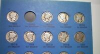 1916 TO 1945 MERCURY DIME COLLECTION / 76 COINS // MISSING O
