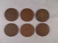 U.S. TWO CENT PIECES   6 COINS      DATES