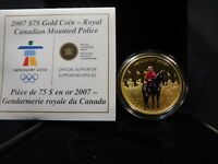 E1 CANADA 2007 GOLD $75 CANADIAN MOUNTIE ENAMELED PROOF W/ B