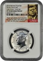 2018 S SILVER KENNEDY 50C REVERSE PROOF LIGHT FINISH NGC PF7