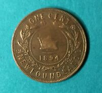 1894 NEWFOUNDLAND LARGE CENT QUEEN VICTORIA VINTAGE 25.33MM