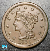 1855 BRAIDED HAIR LARGE CENT --  MAKE US AN OFFER  R8707