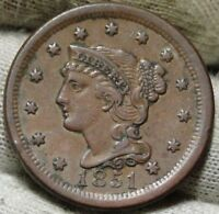 1851 LARGE CENT, BRAIDED HAIR PENNY -  COIN, SHIPS FREE  5928