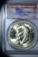 1976-S SILVER EISENHOWER DOLLAR PCGS MINT STATE 67 HISTORY IN YOUR HANDS LABEL.
