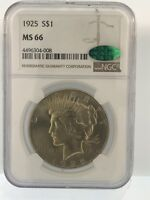 1925 $1 PEACE DOLLAR GRADED BY NGC MINT STATE 66 CAC