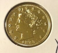 24K GOLD PLATED 1883 RACKETEER LIBERTY V NICKEL - MODERNLY PLATED AU