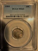 1904 PCGS MINT STATE 65 BARBER DIME CHOICE