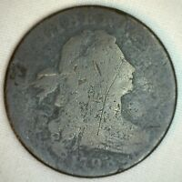 1798 DRAPED BUST COPPER LARGE CENT OLD PENNY TYPE COIN AG K3