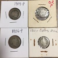 LOT OF 4 BARBER DIMES : 1902,1906,1909 & 1911 ALL P-MINT ESTATE COINS