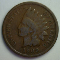 1909 INDIAN HEAD COPPER US CENT ONE CENT TYPE COIN PENNY INDIANHEAD LOT G9