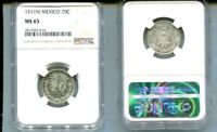 MEXICO 1911 20 CENTAVOS SILVER COIN NGC MINT STATE 65 8133L