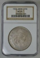 MEIJI 36TH YEAR JAPAN DRAGON  1 YEN 1903 RARE NGC  MS65  SIL