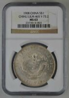 DRAGON CHINA CHIHLI  1 SILVER DOLLAR 1908 RARE NGC  MS63  SI