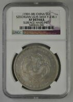 DRAGON CHINA SZECHUAN  1 SILVER DOLLAR 1901 08  NGC  XF DETA