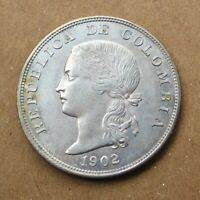 COLOMBIA 1902 SILVER 50 CENTAVOS COIN KM192