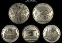 1977 1980 USSR  CCCP     1980 OLYMPIC COLLECTION  5 COINS    WORLD SILVER
