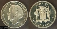 1973 JAMAICA $5 PROOF  NORMAN MANLEY PREMIERE 1959 1962  WORLD SILVER