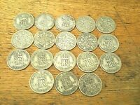 JOB LOT OF 18 SILVER COINS   BRITISH SIXPENCES 1920 1946 ALL