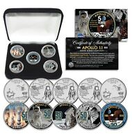 APOLLO 11 50TH ANNIVERSARY MAN ON MOON STATE FL & OH QUARTERS 5 COIN SET W/ BOX
