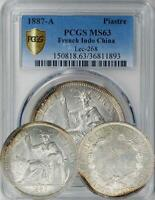 FRENCH INDOCHINA 1887 A PIASTRE PCGS MS 63   ONLY 3 COINS GRADED HIGHER