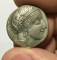 ANCIENT GREEK SILVER COIN TETRADRACHM ATHENS / OWL 16.6GR 26