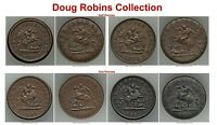 Click now to see the BUY IT NOW Price! LY  1852 BROCKAGE ERRORS.  2  1/2 PENNY &  2  1 PENNY DOUG ROBIN'S