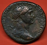 BRASS DUPONDIUS OF TRAJAN: ANNONA / PROW OF SHIP. ROME AD 10