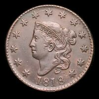 1818 CORONET HEAD LARGE CENT  NICE EYE APPEAL   SHARP STRIKE     Z13