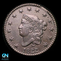 1822 CORONET HEAD LARGE CENT  CLOSE DATE VARIETY    STRONG S