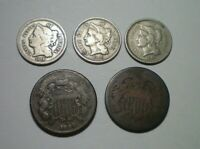 1864 LM 1866 TWO CENT PIECE AND 2 1865 AND 1866 THREE CENT N
