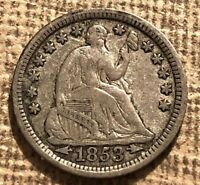 1853 ARROWS LIBERTY SEATED HALF DIME POPULAR TYPE COIN DIE C
