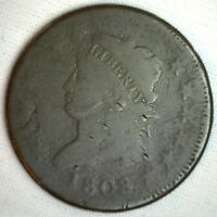 1808 CLASSIC HEAD COPPER LARGE CENT EARLY PENNY TYPE COIN S278 VARIETY GOOD M2