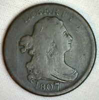 1807 1/2C DRAPED BUST HALF CENT COPPER COIN FINE LARGE 7 VARIETY C-1 M