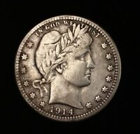 1914 S BARBER QUARTER DOLLAR SILVER US COIN 25C KEY DATE