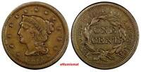 US COPPER 1854 BRAIDED HAIR LARGE CENT 1C EX.LUX FAMILY COLLECTION