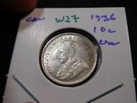 W27 CANADA 1936 10 CENTS UNC