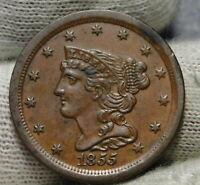 1855 BRAIDED HAIR HALF CENT -  ONLY 56,500 MINTED .  COIN 8049