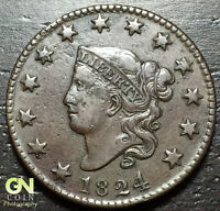 1824 CORONET HEAD LARGE CENT --  MAKE US AN OFFER  W4127 ZXCV