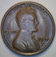 1914 D LINCOLN WHEAT COPPER PENNY 1 CENT US UNITED STATES COIN EXTRA FINE
