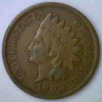 1909 INDIAN HEAD COPPER US CENT ONE CENT TYPE COIN PENNY FINE