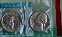 1980 P & D JEFFERSON NICKELS 2 COIN UNC CELLOS FROM US MINT SET FIVE-CENT COINS