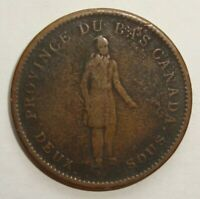 1837 DEUX SOUS LOWER CANADA ONE PENNY TOKEN COIN