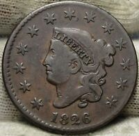 1826 PENNY CORONET LARGE CENT - N-9 R3,  COIN, SHIPS FREE  5806