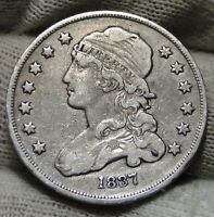 1837 CAPPED BUST QUARTER 25 CENTS   NICE COIN .  7975