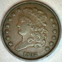 1832 CLASSIC HEAD COPPER HALF CENT UNITED STATES TYPE COIN HALF PENNY EXTRA FINE
