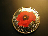 CANADA  2015 REMEMBRANCE DAY WWII POPPY COLOURED 25 CENT COIN.BEAUTIFUL COIN